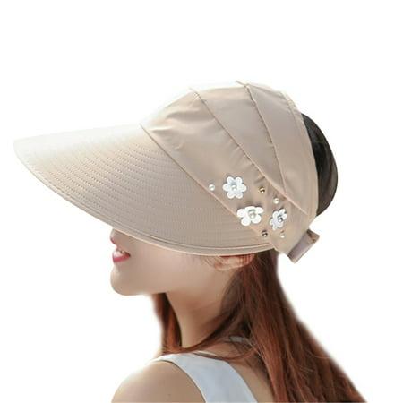 Sun Cap, Coxeer Travel Adjustable Wide Brim UV Protection Visor Cap Sun Summer Beach Hat for Women Girls