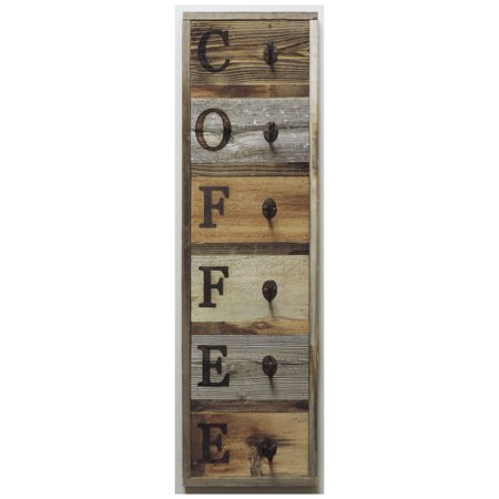 Allbarnwood Vertical Barnwood Coffee Mug Rack Wall Mounted Wooden Hanging Cup Holder Kitchen Storage For Display Organizer Hooks 36 75 X 10 5