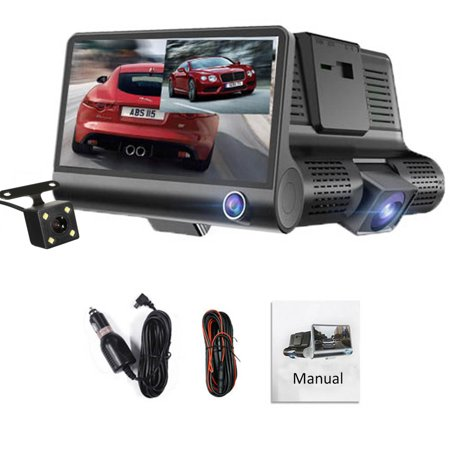 Three Lens Dash Camera for Cars, 4'' Dash Cam FHD 1080P Car Vehicle Dashboard DVR Camera Video Recorder Black - image 7 of 8