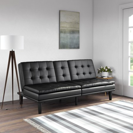 Mainstays Memory Foam Faux Leather PillowTop Futon w/Cupholders, Multiple Colors