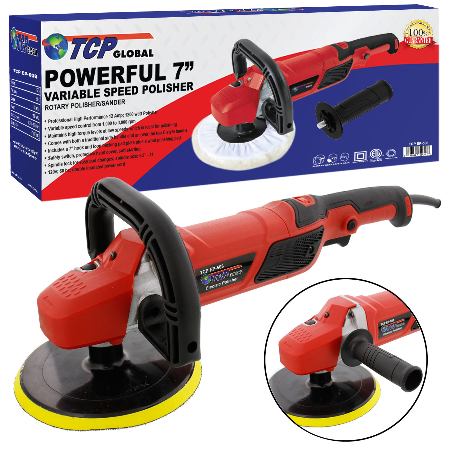 "7"" Professional High Performance Variable Speed Polisher with a Powerful 12 Amp, 1200... by TCP Global Corp"
