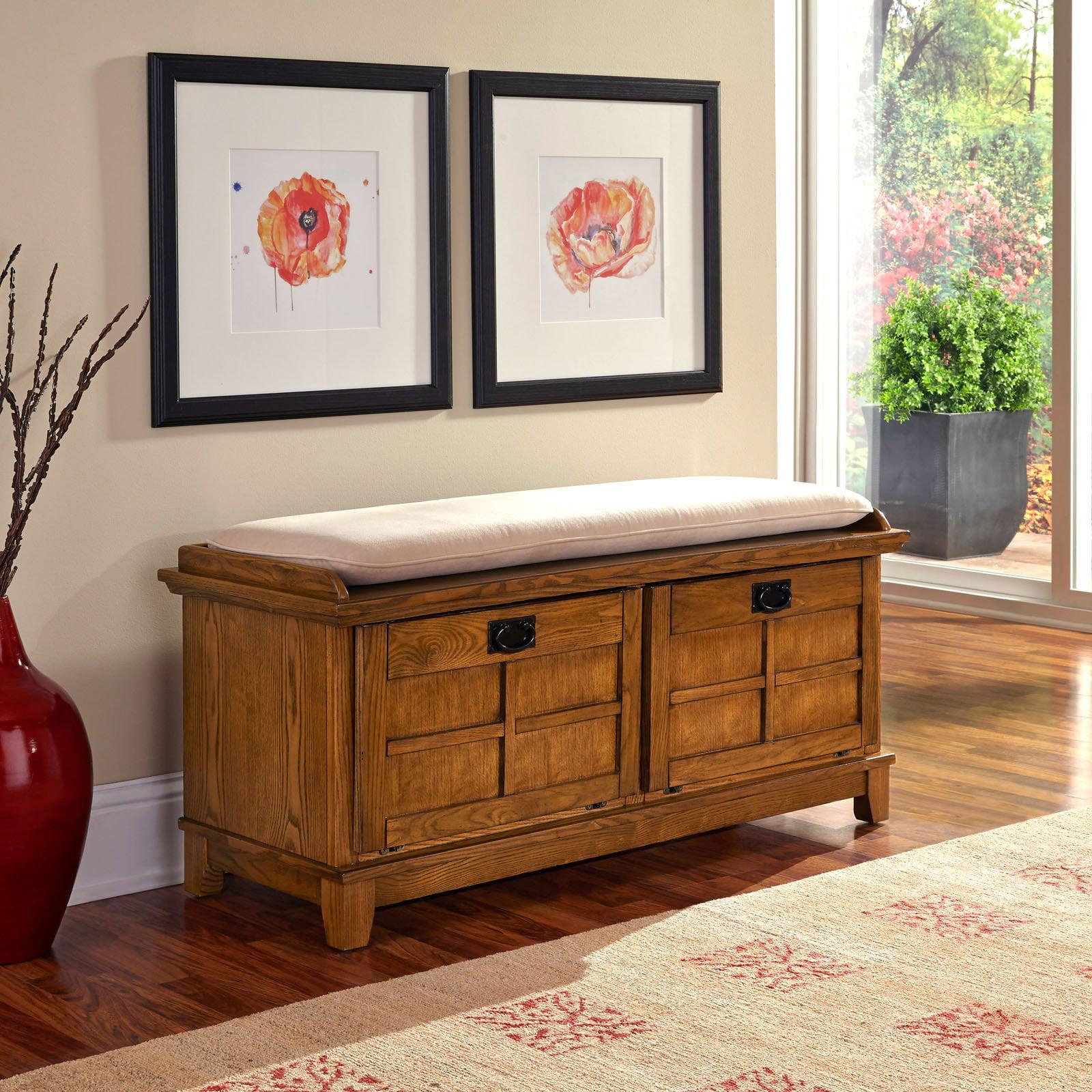 Genial Arts U0026 Crafts White Upholstered Bench   Walmart.com