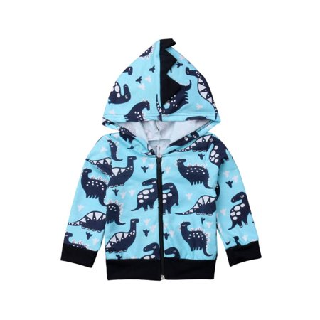Super Cute Toddler Kid Baby Boy Dinosaur Zipper Hooded Warm Sweatshirt Coat Hoodies Costume
