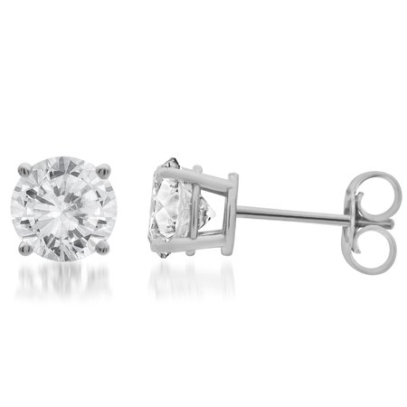1 Carat T.W. Round White Diamond 14kt White Gold Stud Earrings, IGL certified