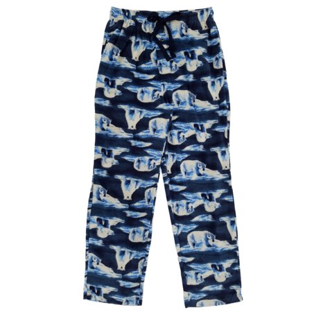 Mens Navy Blue Polar Bear Iceberg Fleece Sleep Pants Pajama Bottoms