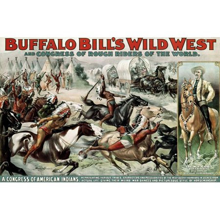 Unknown Buffalo - Buffalo Bills Wild West - Poster Stretched Canvas - Unknown (24 x 36)