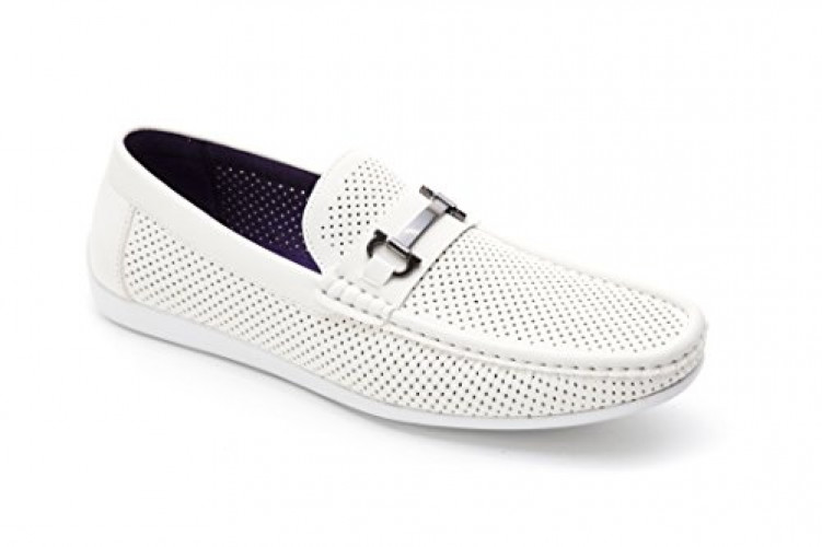 Montique Men's Horsebit Perforated Driving Shoes S-45 (11, Off White)