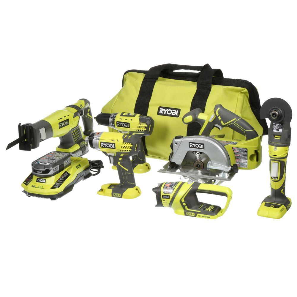 Ryobi ONE+ 18-Volt Lithium-Ion Ultimate Combo Kit (6-Tool) Electric Power Tool P884 by