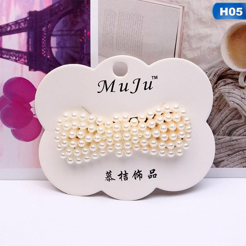 Charm Womens Pearl Hair Clip Snap Barrette Stick Hairpin Hair Accessories Gift
