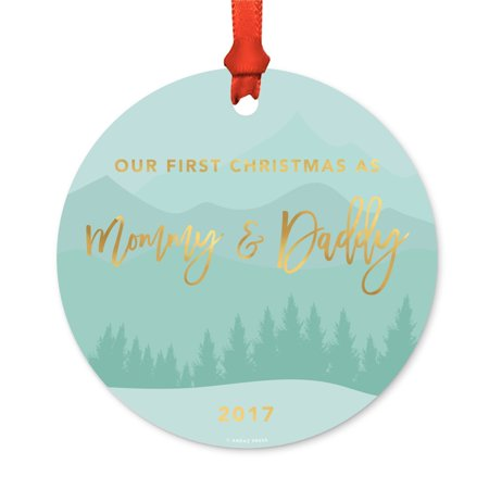 Metal Christmas Ornament, Our First Christmas As Mommy and Daddy 2017, Winter Wonderland, Includes Ribbon and Gift Bag