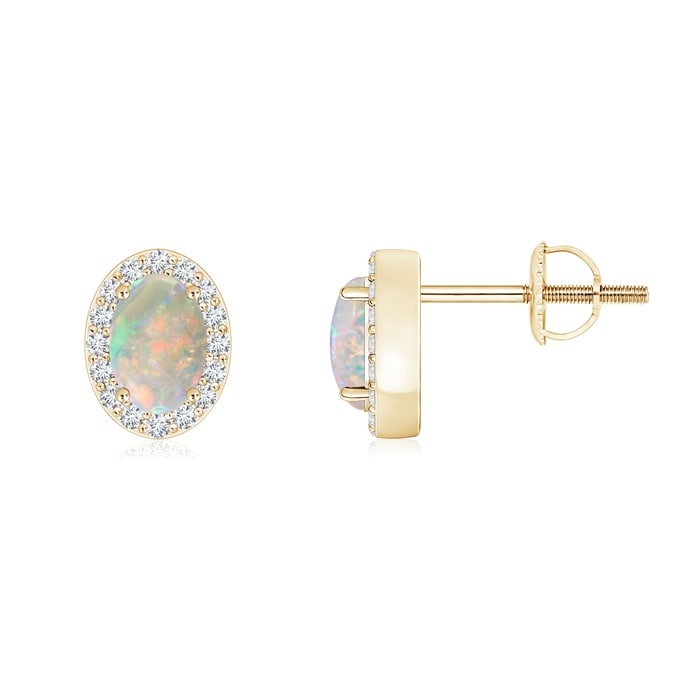 Angara Opal Stud Earrings with Diamond Halo - October Birthstone Studs NoOqHt