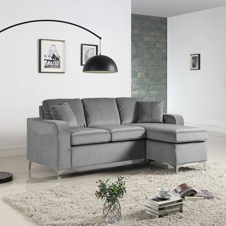 Modern Soft Brush Microfiber Sectional Sofa Small Space