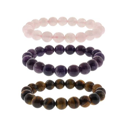 10mm Simulated Rose Quartz, Simulated Amethyst and Simulated Tiger's Eye  Stretchy Bracelet Set Amethyst White Charm Bracelet