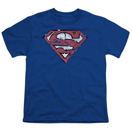 Superman Ripped And Shredded Big Boys Youth Shirt (Royal Blue, Small)