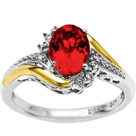 Sterling Silver with 10kt Yellow Gold Oval Created Ruby and Diamond Accent Ring