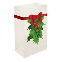 Set of 12 Red and Green Christmas Holly Plastic Luminaria Bags 10