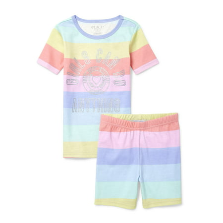The Children's Place Graphic short sleeve tee and sleep short, 2-piece pajama set (little girls & big girls)