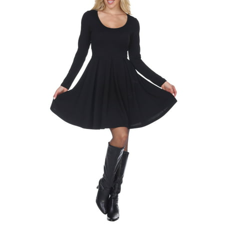 Women's Long Sleeve Fit and Flare Dress