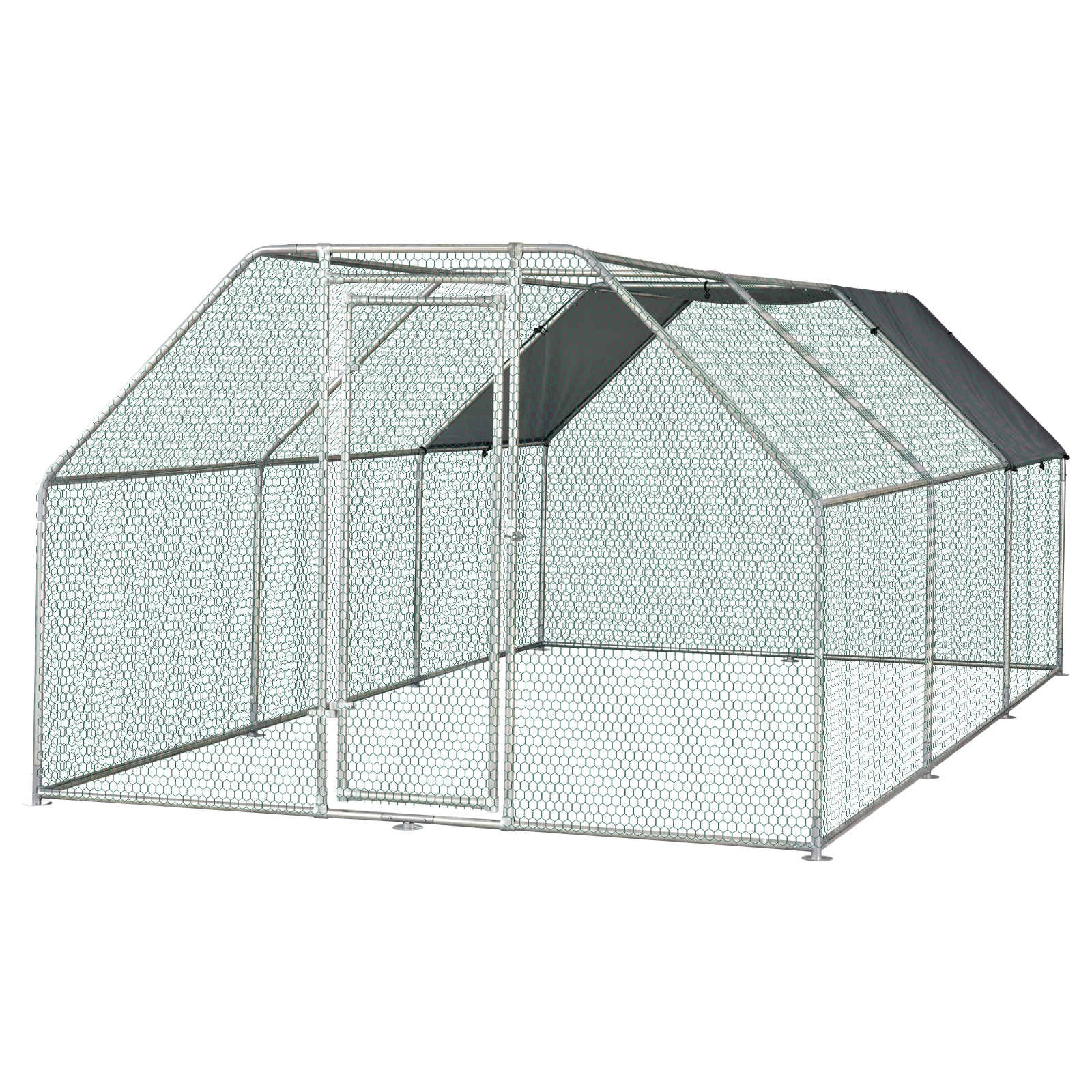 PawHut Galvanized Metal Chicken Coop Cage with Cover Walk-in Pen Run