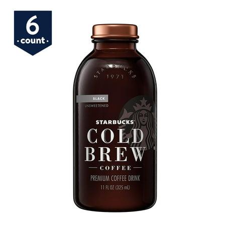 Starbucks Cold Brew Coffee, Black Sweetened, 11 oz Glass Bottles, 6 Count (Starbucks Halloween Frappuccino)