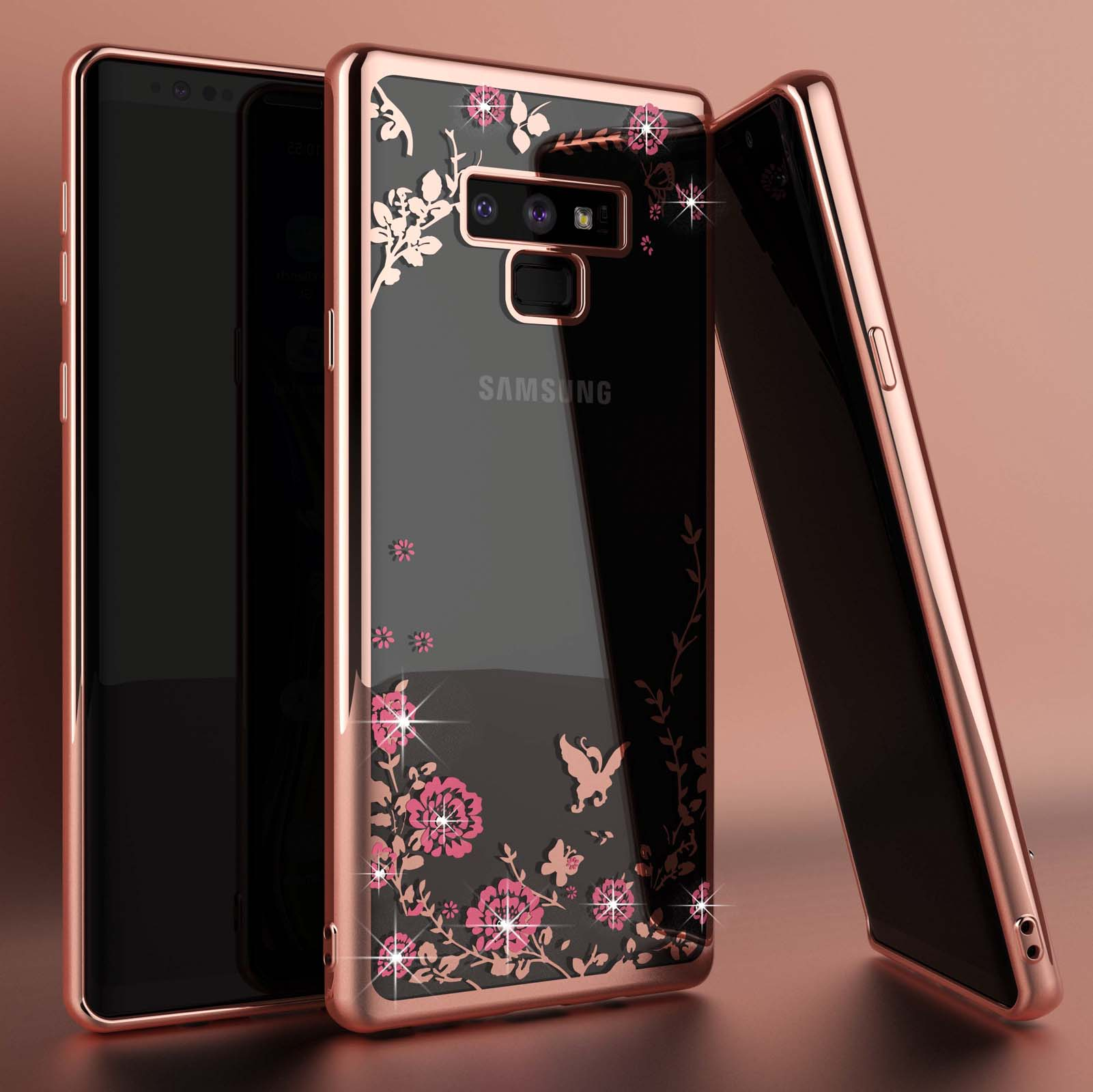Galaxy S10 Plus / S10 / S10e / S9 Plus / S9 / Note 9 / S8 Plus / S8 / S7 Edge / S7 Case, Njjex Glitter Sparkly Diamond Secret Garden Floral Butterfly Clear Back Soft TPU Case Bling Shiny Rhinestone