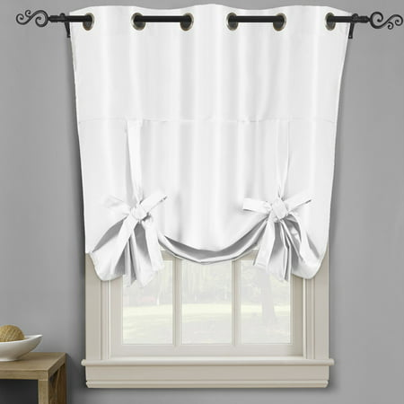 Soho Triple P Thermal Insulated Blackout Curtain Top Grommet Tie Up Shade For Small Window 42 W X 63 L White