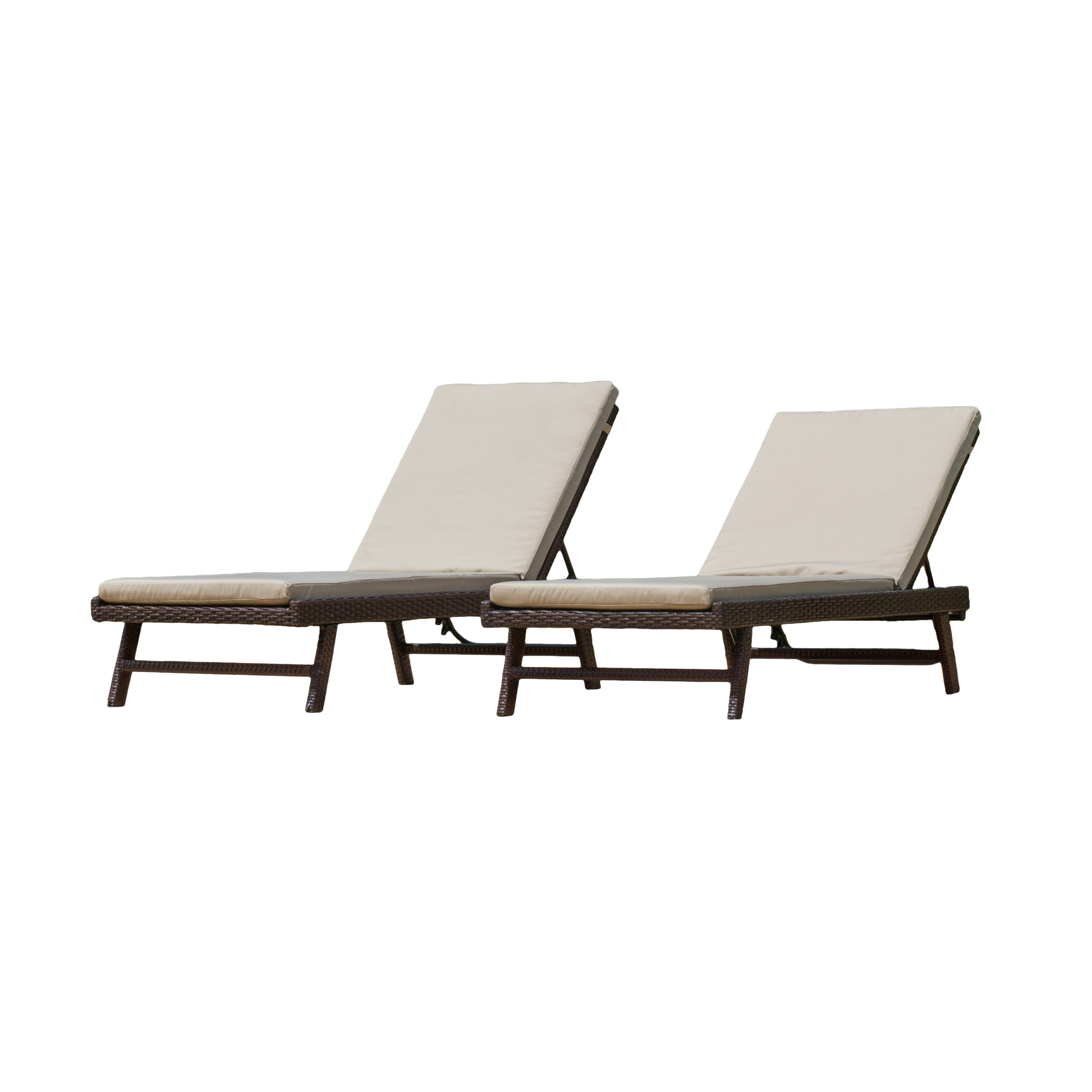 Noble House Brown Adjustable Chaise Lounge Set by Noble House