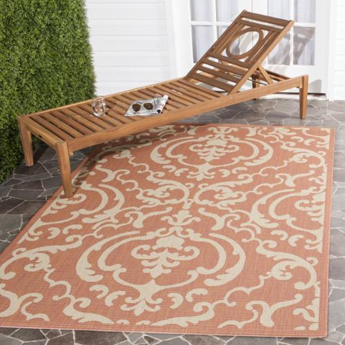 Safavieh Bimini Damask Terracotta Natural Indoor Outdoor