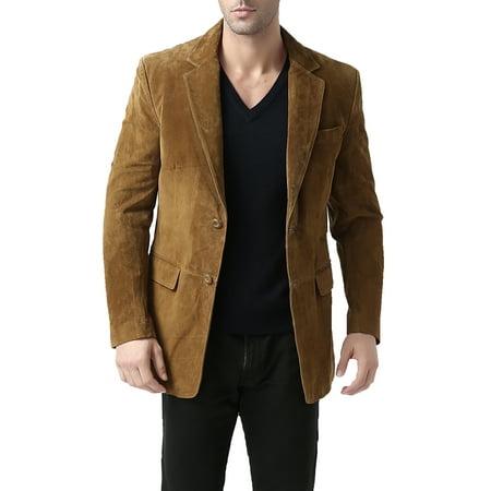 BGSD Men's Cliff 2-Button Suede Leather Blazer (Regular & Tall)