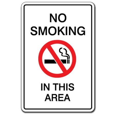 NO SMOKING IN THIS AREA Warning Aluminum Sign non smoke Aluminum Signs fumar cigarettes cigar | Indoor/Outdoor | 18
