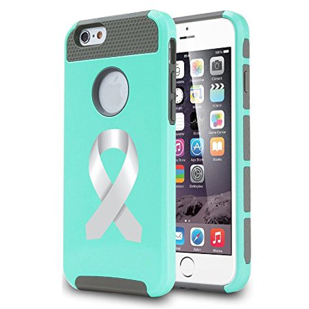 For Apple (iPhone 8) Shockproof Impact Hard Soft Case Cover Diabetes Brain Cancer Parkinson's Disease Lung Cancer Color Awareness Ribbon (Teal) - Lung Cancer Awareness Color