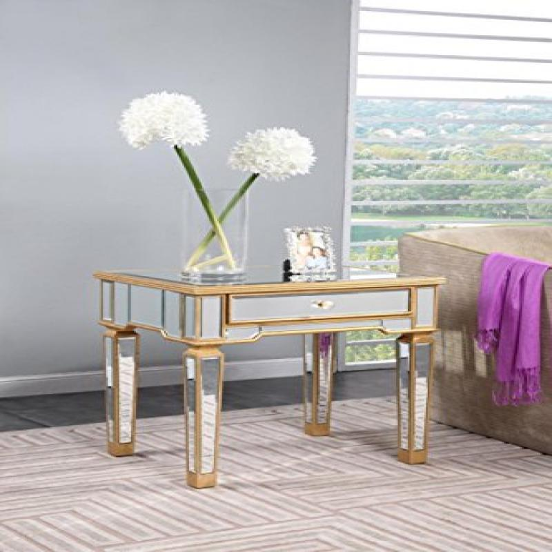 Elegant Lighting MF1-2001GC 26 x 20 x 26 inch Florentine End Table, Gold & Clear Mirror