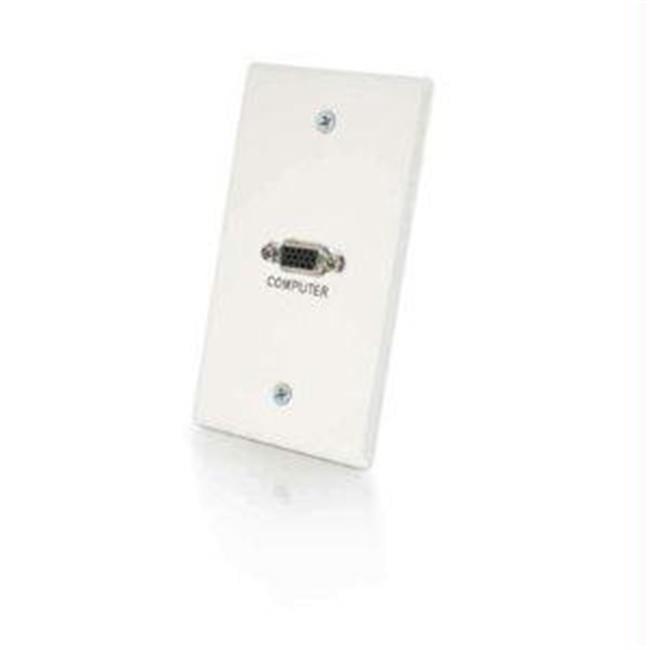 C2G 41023 SINGLE GANG HD15 WALL PLATE - WHITE BRUSHED ALUMINUM