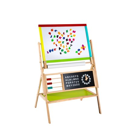 Kinbor Children's Paint Drawing Artist Easel with Chalkboard & Dry Erase Board