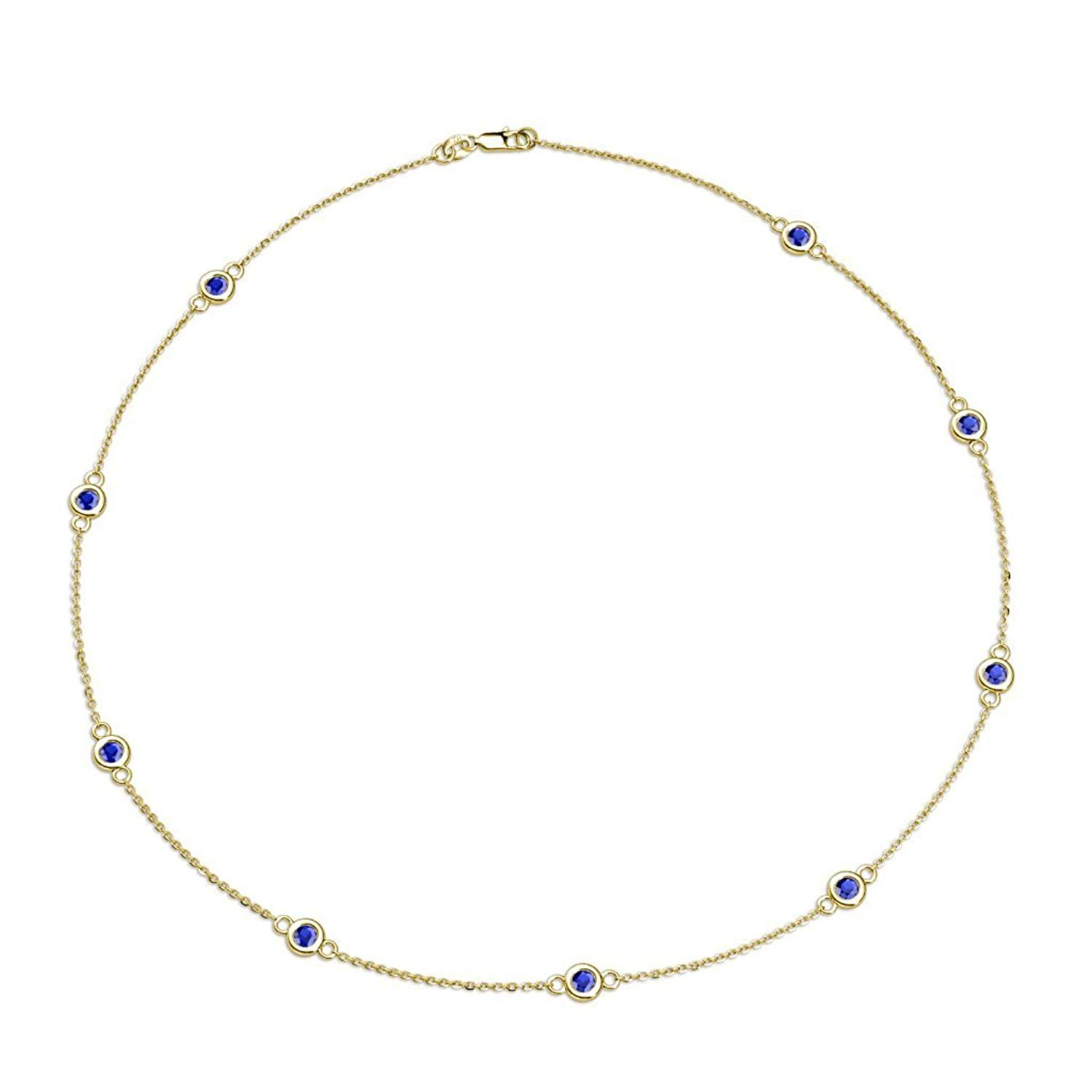 Blue Sapphire 9 Station Necklace 1.42 cttw in 14K Yellow Gold by TriJewels