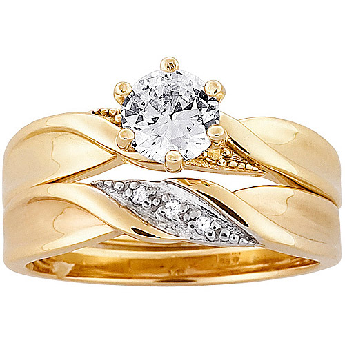 1.3 Carat T.G.W. CZ and Diamond Accent Gold-Plated Wedding Ring Set