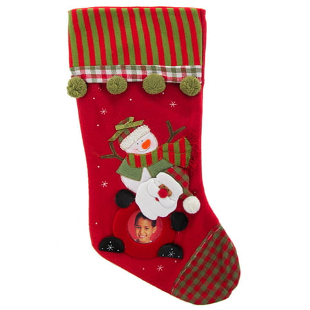 Christmas Photo Stocking With Personalized Picture Portrait Holder