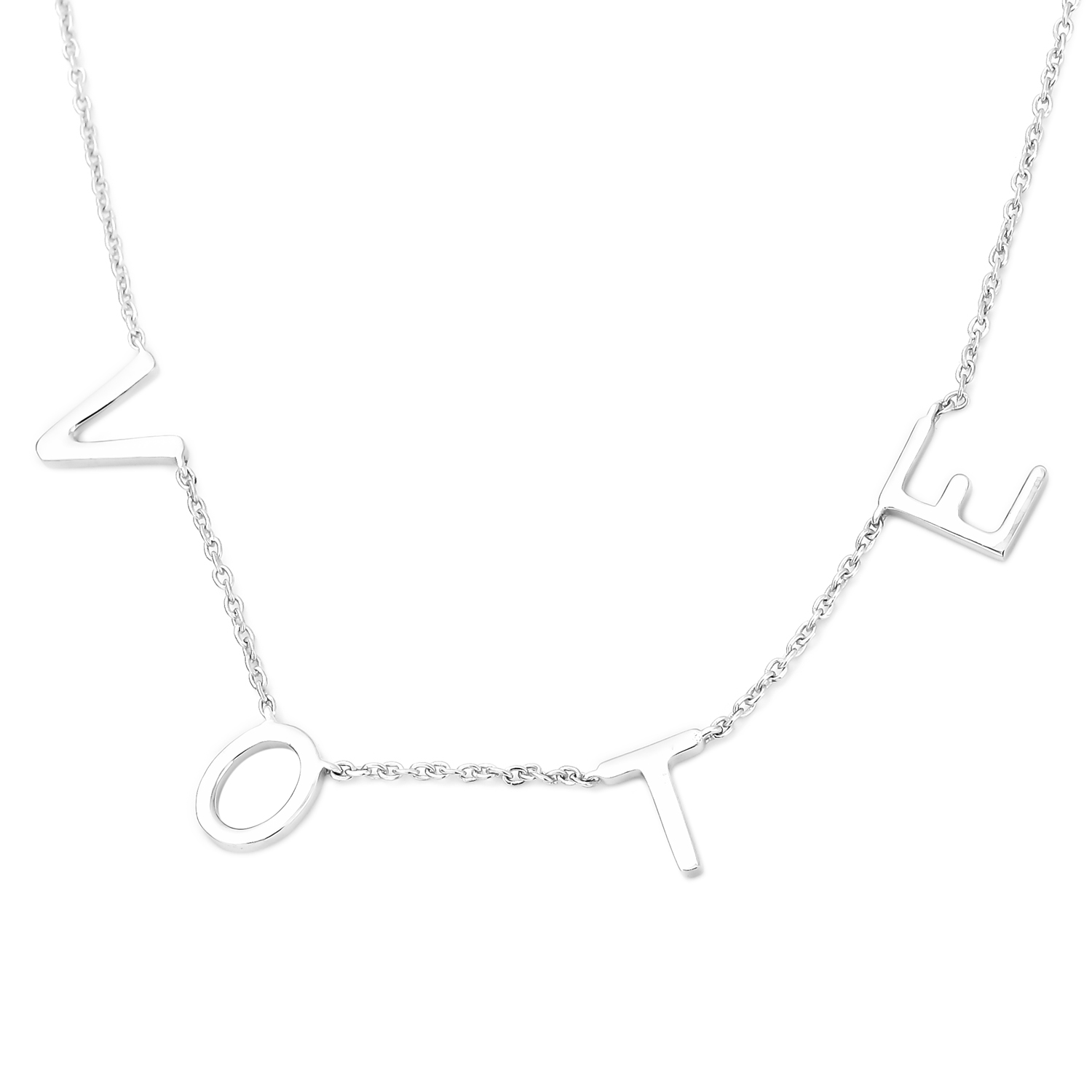 Michelle Obama Vote Necklace Sterling Silver Name Necklace Personalized Spaced Letter Necklace for Women
