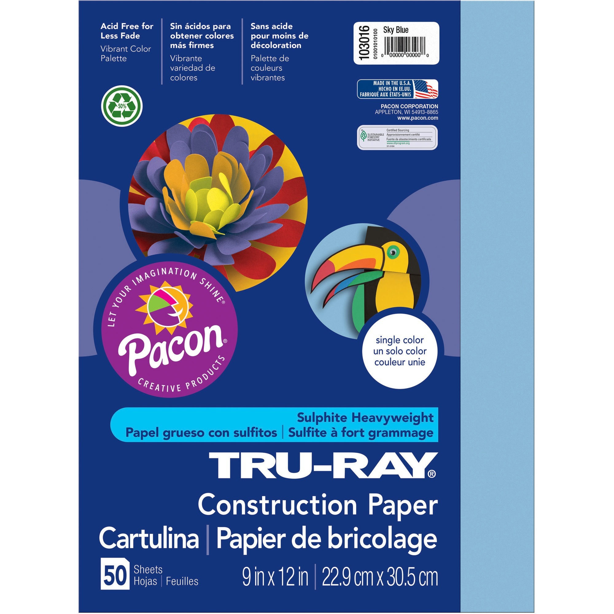 Tru-Ray, PAC103016, Construction Paper, 50 / Pack, Sky Blue