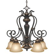 Golden - 6029-D5 EB - Five Light Nook Chandelier - Jefferson - Etruscan Bronze