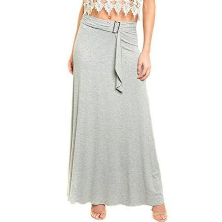 Womens Knit Waistband - Womens Basic Jersey Knit Full Maxi Skirt with Waistband Detail U.S.A
