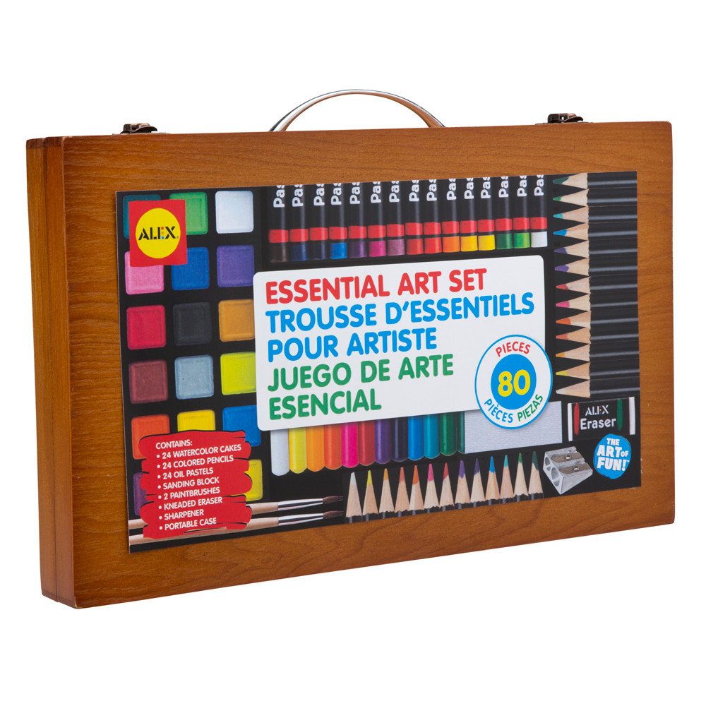 ALEX Toys Artist Studio Portable Essential Art Supplies Set with Wood Carrying Case