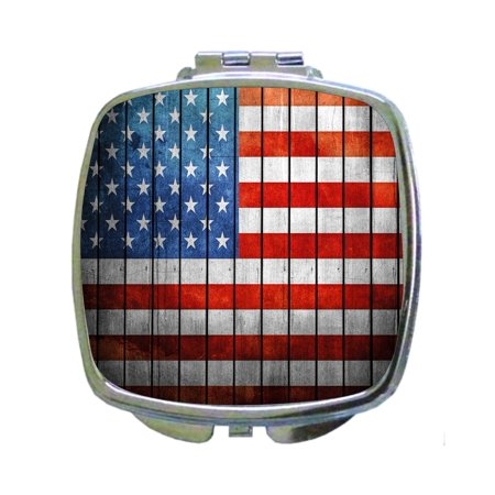 Wooden Wall Art Style Deco American Flag Patriotic Print - Compact Beauty Mirror - Square Shaped