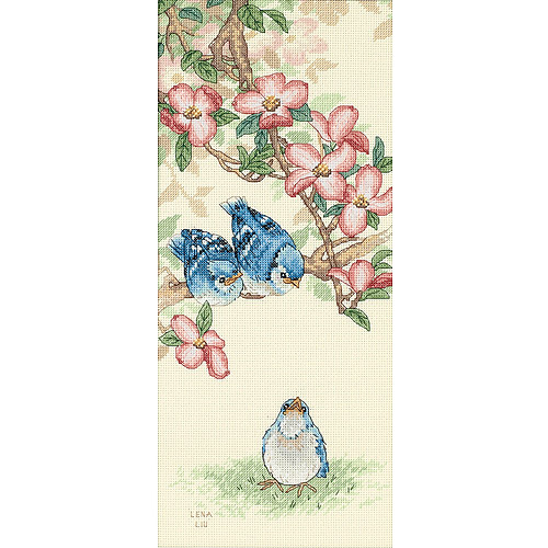 """Dimensions Baby Blue Jays Counted Cross Stitch Kit, 7"""" x 16"""""""