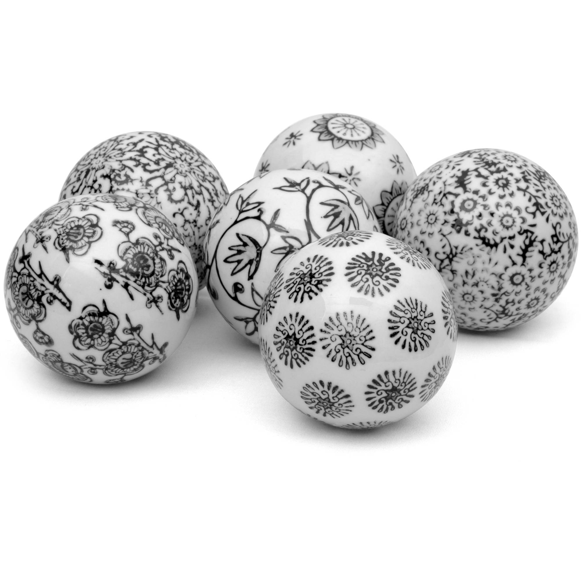 "3"" Black & White Decorative Porcelain Ball Set"