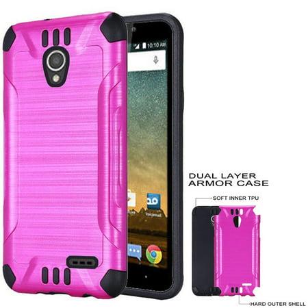 Phone Case for Trafone ZTE Z Five 2, ZFive 2 LTE, Maven 2 Gophone (AT&T), Sonata 3 (Cricket), Prestige, Avid Plus, Aivd Trio Dual-Layered Cover (Combat Pink-Black TPU) (Pink Sonata)