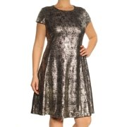 ALFANI Womens Gold Short Sleeve Jewel Neck Above The Knee Fit + Flare Dress  Size: 14
