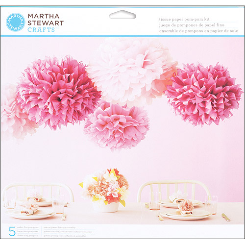 Martha Stewart Crafts Vintage Girl Tissue Paper Pom Pom Kit, Pink