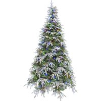Fraser Hill Farm 6.5 Ft. Hunter Fir Artificial Christmas Tree with Multi-Color LED String Lighting