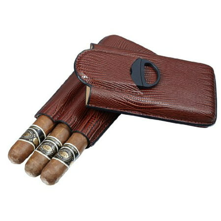 Visol Granada Brown Leather 3 Finger Cigar Case with Cigar Cutter (Set of 3) 3 Finger Leather Cigar